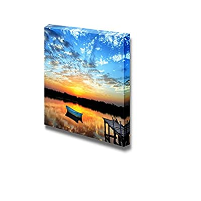 Canvas Prints Wall Art - Calm/Peaceful Scenery of a Little Boat on The Lake in Sunset | Modern Wall Decor/Home Decoration Stretched Gallery Canvas Wrap Giclee Print & Ready to Hang - 12