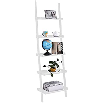 TANGKULA Ladder Bookcase 5-Tier Wood Leaning Shelf Wall Plant Shelf Ladder for Home Office Modern Flower Book Display Shelf Storage Rack Stable A-Frame Wooden Ladder Shelf (White)