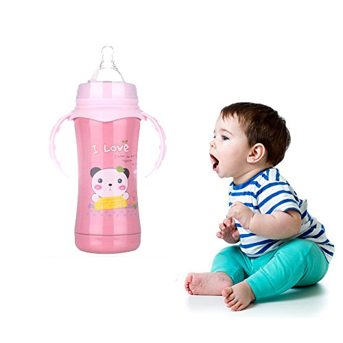 Baby Feeding Bottle Warmmer Kids Double-wall Stainless Steel Thermal Insulation Mug with Straw Handle Born 240mlg (Olivia Jordan Costume)