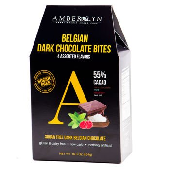 Amber Lyn Belgian Dark Chocolate Bites, Assorted - Sugar Free (16 oz bag) - Amber Chocolate