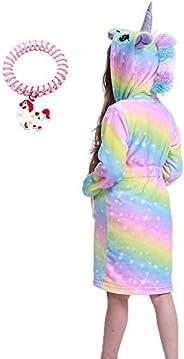 RGTOPONE Kids Soft Bathrobe Unicorn Fleece Sleepwear Comfortable Loungewear