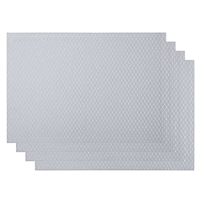 VEEYOO Waffle Jacquard Polyester Placemats for Kitchen Dining Table Meal Mat Non-Slip Insulation Place Mats,13x19,Set of 6, Silver - ✔【Material】: 100% polyester yarn, high-quality double-layer fabric for table mats (environmentally friendly, safe to use) ✔ 【Size and beautiful color】: 13 x 19 inches, a set of 6 sets, the simple and exquisite design of the place mat, elegant waffle jacquard style, perfectly matched on the table. ✔【Waterproof and heat resistant】: polyester yarn, high-quality double-layer fabric (environmental protection, safe to use), the place mat waterproof, non-slip, oil-proof, UV-resistant, wear-resistant. The place mats are made of heat resistant materials to protect your table. - placemats, kitchen-dining-room-table-linens, kitchen-dining-room - 41mZ0mnFSYL. SS400  -
