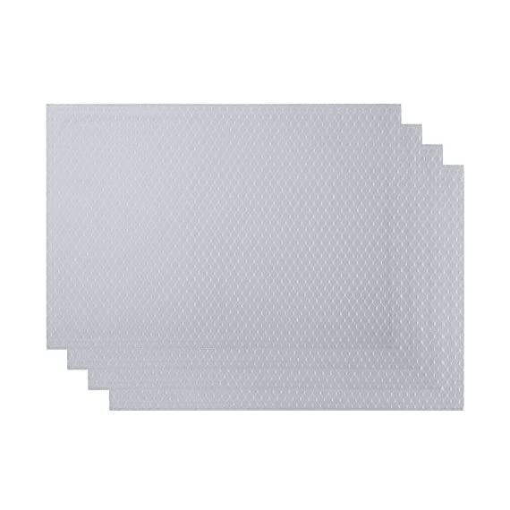 VEEYOO Set of 6 Placemats for Kitchen Dining Table, Non-Slip Waterproof Polyester Kitchen Placemats Washable Table Mats,13x19 Silver - ✔【Material】: 100% polyester yarn, high-quality double-layer fabric for table mats (environmentally friendly, safe to use) ✔ 【Size and beautiful color】: 13 x 19 inches, a set of 6 sets, the simple and exquisite design of the place mat, elegant waffle jacquard style, perfectly matched on the table. ✔【Waterproof and heat resistant】: polyester yarn, high-quality double-layer fabric (environmental protection, safe to use), the place mat waterproof, non-slip, oil-proof, UV-resistant, wear-resistant. The place mats are made of heat resistant materials to protect your table. - placemats, kitchen-dining-room-table-linens, kitchen-dining-room - 41mZ0mnFSYL. SS570  -