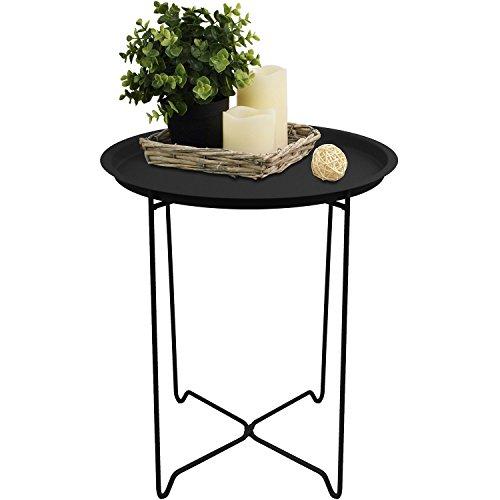 Serviertisch rund 41x48cm mit Rand Beistelltisch Tabletttisch Wohnzimmertisch Couchtisch klappbar Schwarz