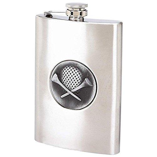 8oz GOLF Emblem FLASK Stainless Steel Screw Cap Hip Pocket Golfing Golfer -
