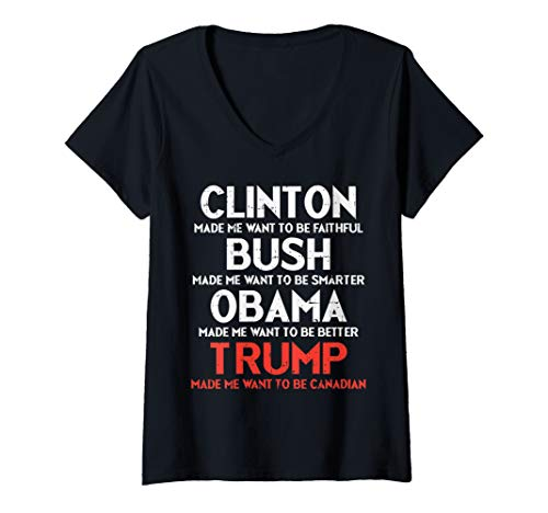 Womens Clinton Bush Obama Trump Canadian Funny No Anti Trump 2020 V-Neck T-Shirt