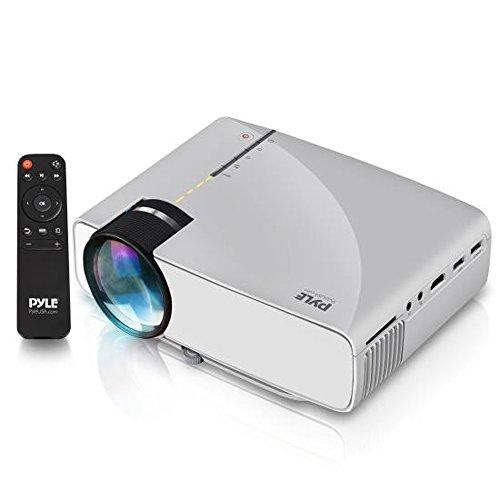Pyle PRJG74.5 Compact Digital Multimedia Projector, HD 1080p Support, MP3/USB/SD/AV/VGA (Mac & PC Compatible), Grey by Pyle