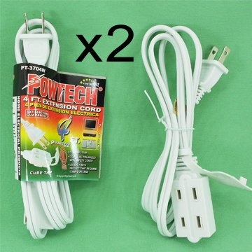 2-Pk Extension Cord, 4 feet, 2 Conductor Polarized 3 Outlet WHITE POWTECH (4ft Extension Cord compare prices)