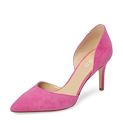 Ydn Kvinder Klassiske Lave Hæle D'orsay Pumps Ruskind Spidse Tå Slip På Elegant Stiletter Sko Pink 1vNduqOvPo