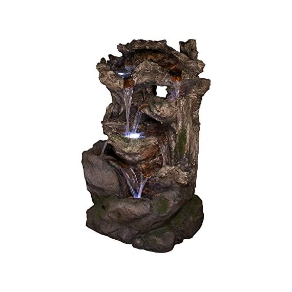 Alpine Corporation 6-Tier Rainforest Rock Water Fountain with LED Lights - Outdoor Water Fountain for Garden, Patio, Deck, Porch - Yard Art Decor - WATERFALL FOUNTAIN: Garden water fountain is the perfect addition to your outdoor decor. Interior pump keeps the water flowing - just plug it in! RELAXING WATER FLOW: Water trickles from each tier to mimic the sounds of a real waterfall, adding peaceful ambiance to your outdoor setting NATURAL LOOK: Realistic brown stone tower brings a touch of natural beauty to your space - patio, outdoor-decor, fountains - 41mZ2KWd 1L. SS570  -