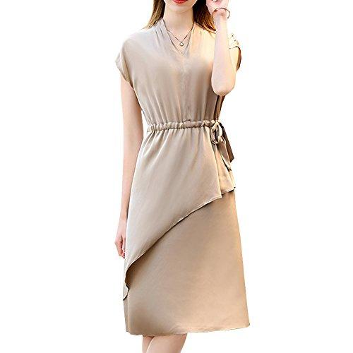 DISSA Einfarbig Abendkleid Long Seide Kleid Knee Damen Cocktail S9932 Beige Kleider Übergröße rHvHa