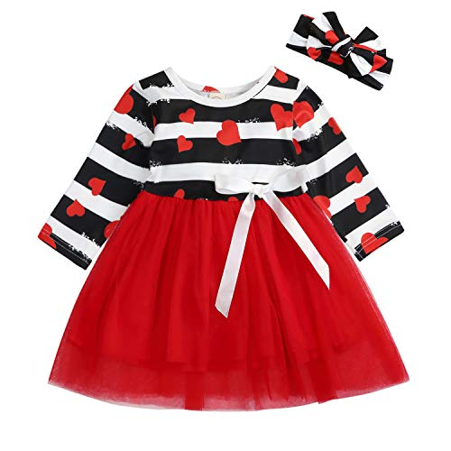 Valentine's Day Toddler Baby Girls Dress Outfits Heart PrintPrincess Party Tutu Skirt Ruffle Dresses Clothes (Red, 2-3 Years)