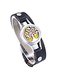 HooAMI Aromatherapy Essential Oil Diffuser Locket Bracelet Leather Band with 11 Color Pads