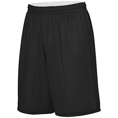 Reversible Boys Shorts - Augusta Activewear Youth Reversible Wicking Short, Black/White, Large