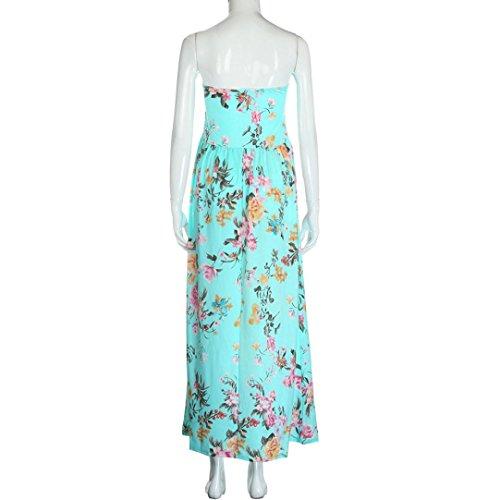 Vestido De Mujer, Xinan Verano Vestido Largo De Fiesta Bandeau Vestido Floral Largo Azul