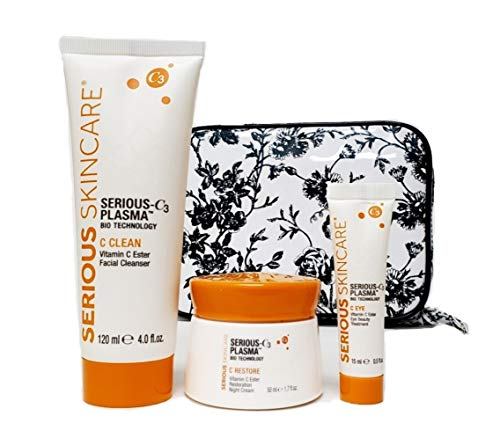 Serious Skincare Serious C3 Plasma Night Trio Restore Night Cream, Eye Beauty Treatment and Cleanser with White Stargazer Toile Print Cosmetic Case