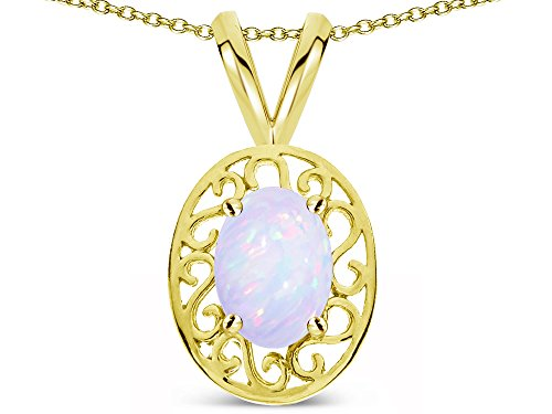 Star K Vintage Style Filigree Oval 6x4 Genuine Opal Pendant Necklace 14 kt Yellow Gold