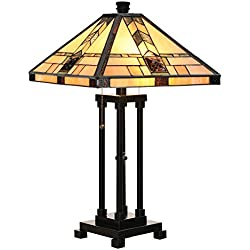 "Cloud Mountain Tiffany Style Egyptian Table Lamp Home Decor Lighting Mission Design Desk Lamp with 14.25"" Lampshade"