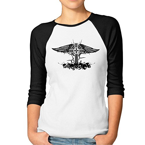Christian Womens Raglan Sleeve (Women's Celtic Cross Skull Wings 3/4 Sleeve Raglan Tee XXL Black)