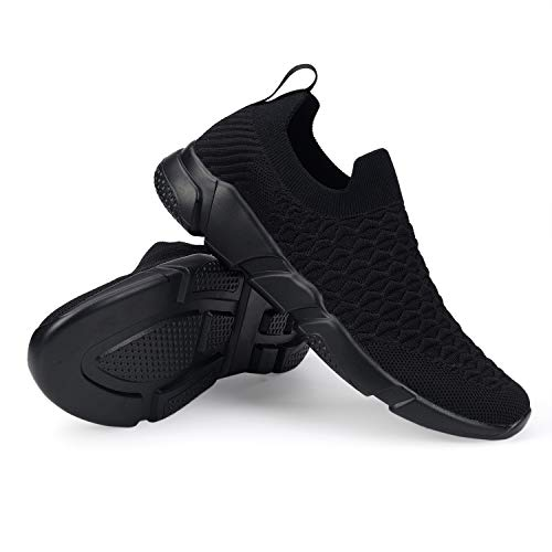 WXQ Men's Running Lightweight Breathable Casual Sports Shoes Fashion Sneakers Walking Shoes All Black 45