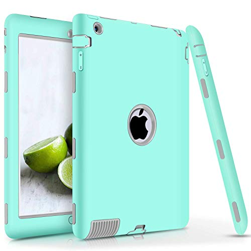 iPad 2/3 / 4 Case, DUEDUE Heavy Duty Rugged Shockproof Anti-Slip Hybrid Hard PC Soft Silicone Full Body Defender Protective Cases Cover for Apple iPad 2nd / 3rd / 4th Generation, Cyan/Grey