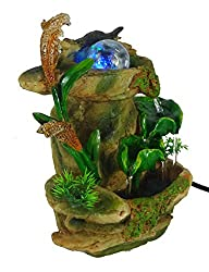 GiftsRDecor Tabletop Fountain Forest Waterfall Cascading Lotus Leaves (Limited Edition)