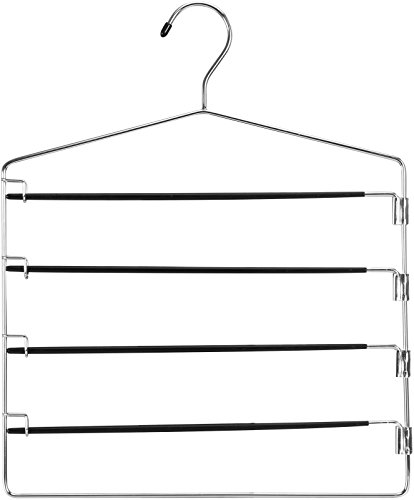 Multi Bar Pant Hanger with PVC Coating - Swing Arms for Better Convenience - No Slip Multiple Pant Hanger - By Utopia Home