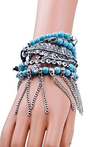 - Bohemian Cross Leave Turquoise Beaded Stretch Bracelets Stack Bundle: Bracelets & Bag