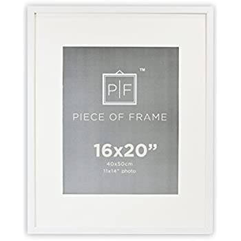 Golden State Art  16x20 White Photo Frame  with Ivory Color Mat for 11x14  Pictures. Amazon com  SNAP 16x20 White Wood Wall Frame with 11x14 Single
