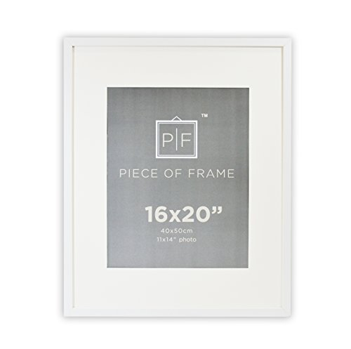 Golden State Art, 16x20 White Photo Frame, with Ivory Color Mat for 11x14 Pictures, & Real (16x20 Single Mats)
