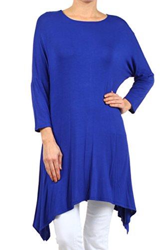 2LUV Plus Women's Dolman Sleeve Asymmetric Knit Tunic Dress Royal Blue XL (D235)