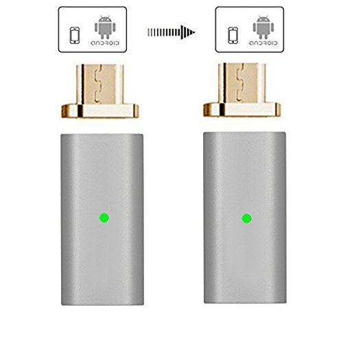 Kript Gen5 Magnetic Micro USB Charging Adapter for Android Device (Micro USB Adapter/2 Pack Silver)