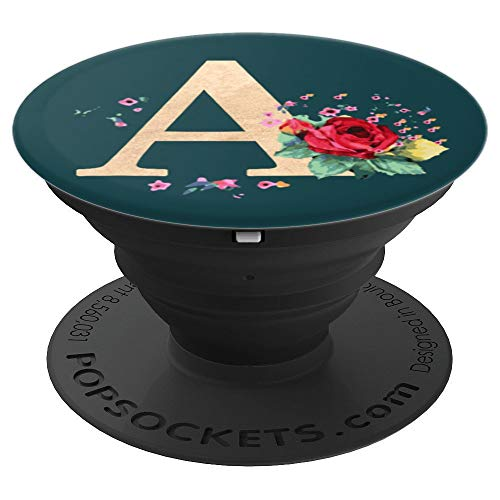 (Letter A Inital Monogram First Name Flower Bouquet Teal - PopSockets Grip and Stand for Phones and Tablets)