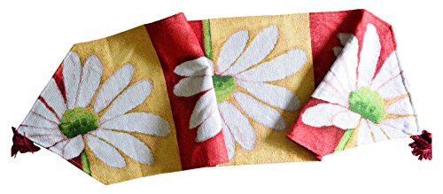 (Tache Home Fashion DB9046TR-13X90 Colorful Floral Daisy Spring Summer Loves Me Not Woven Needlepoint Long Kitchen Dining Table Runner 13 x 90 Multi; Red; Yellow;)