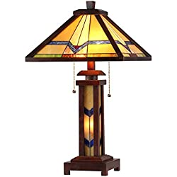 "Chloe Lighting CH33430WM15-DT3 Tiffany Alexander -Style Mission 3-Light Double Lit Wooden Table Lamp, 15"" x 15"" x 25.6"""