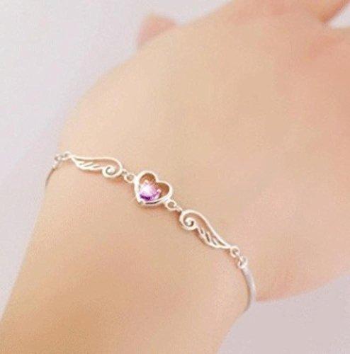 LXIANGP Bracelet 925 Sterling Silver Lady Bracelet Inlaid Diamond Sterling Silver Bracelet ()