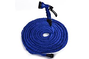 Blue 75FT GARDEN WATER HOSE EXPANDABLE FLEXIBLE HOSE PIPE WITH SPRAY NOZZLE