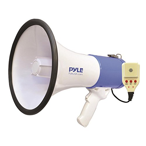 Pyle Megaphone Speaker [Audio PA Sound System] Built-in Rechargeable Battery | Siren Alert Mode | Save & Replay Mode | Aux (3.5mm) Input | 50 Watt (PMP59IR) - Peak Pa Speaker