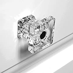 Glass Cabinet Knobs Clear, Furniture Drawer Pulls or Cupboard Handles T82FN 6-Pack Clear Glass Square Knobs with Polished Nickel Hardware. Romantic Decor & More