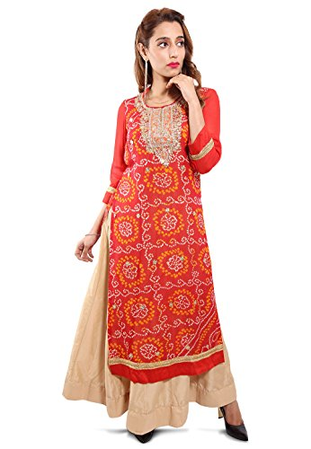 Utsav Fashion Embroidered Neckline Pure Chinon Crepe Abaya Style Suit in Red Colour