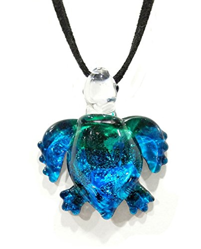 Holiday Glass Painted Art (Handmade Ocean Blue Sea Turtle Art Glass Blown Sea Animal Figurine Pendant Necklace Jewelry - Model Y2016)