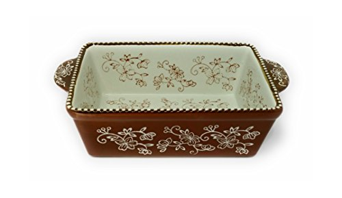 Temp-tations 1.5 Qt Loaf Pan for Meat Loafs or Breads, (Floral Lace Chocolate)