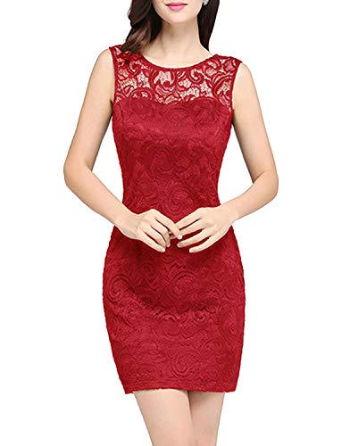 Wistoo Nice Black Lace Cocktail Dresses O-Neck Sleeveless Summer Lady Mini Party Dresses Robe,10,Red