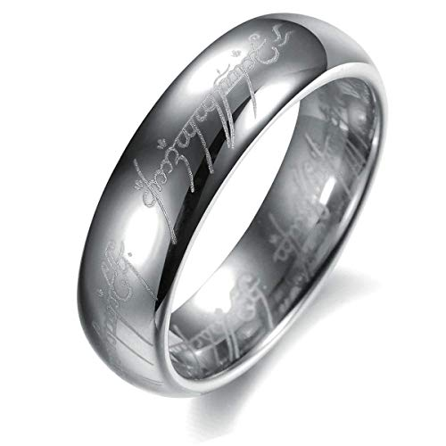 AMSENC The One Ring Lord The Rings Style Tungsten Ring Gold Color Lord Rings Laser Etched (Silver, 13) (Lord Of The Rings Fire Pit Ring)