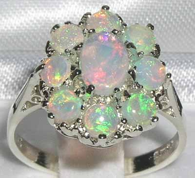 925 Sterling Silver Natural Opal Womens Cluster Ring - Sizes 4 to 12 Available