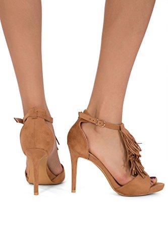 Para mujer de tacón alto peep toe hebilla de correa de tobillo Sandalias Tamaño UK 345678 Marrón - marrón