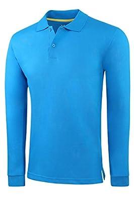 Marq 75 Men's Slim Fit Long Sleeve Jersey Polo Shirt - Ultra Soft Fabric
