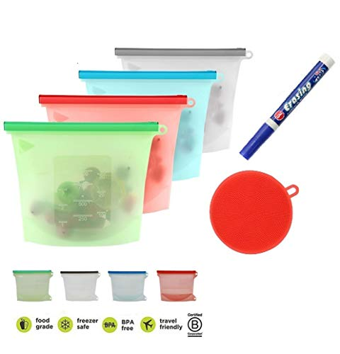 ilicone Food Storage Freezer Bags Airtight Leakproof Seal, Writable, Fridge, and Microwave Dishwasher Safe with Dish Food Scrubber Marker Gift Set (4-Pack 1-Liter Set) ()