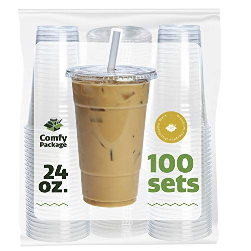COMFY PACKAGE 100 Sets 24 oz. Plastic CRYSTAL CLEAR Cups with Flat Lids for Cold Drinks, Iced Coffee, Bubble Boba, Tea, Smoothie etc. by Comfy Package