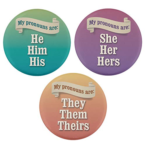 Pinback Pin Button Political - Buttonsmith Pronoun Set 2.25